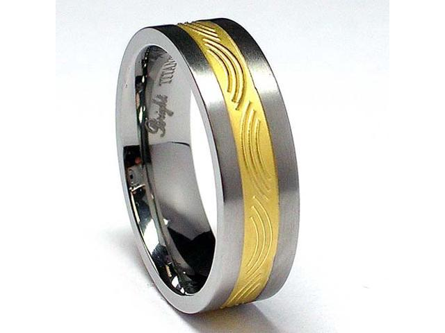 6MM 14K Gold plated Titanium Ring Wedding Band