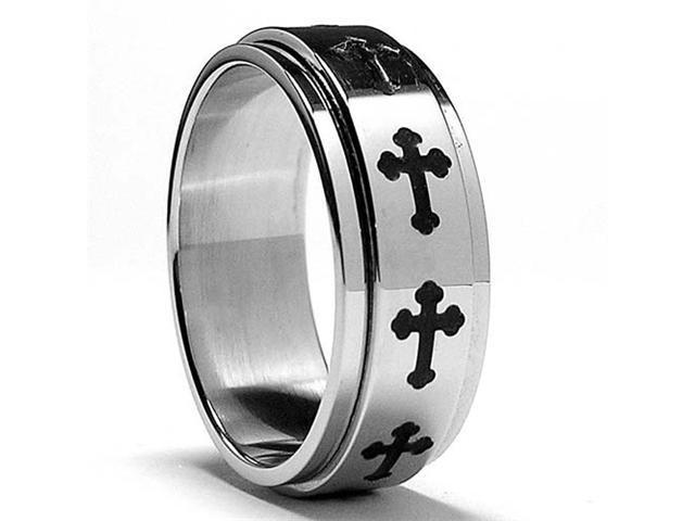Stainless Steel Cross Spinner Ring