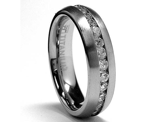 5MM Matte Finish Eternity Titanium ring wedding band with Cubic Zirconia