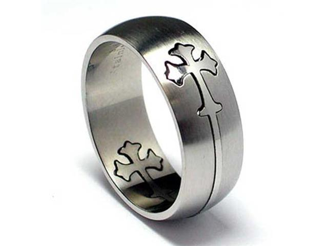 Matte Finish / High Polish Stainless Steel Cross Cut out Ring