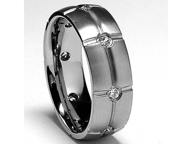 8MM Eternity Matte Finish Titanium ring wedding band with Cubic Zirconia