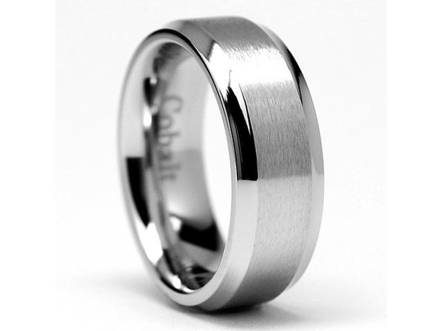7MM High Polish Matte Finish Men's Cobalt Chrome Ring Wedding Band