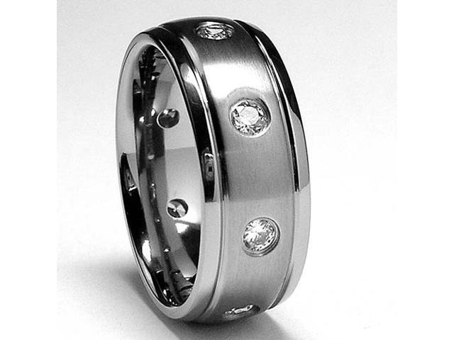 Matte Finish Eternity Titanium ring wedding band with Cubic Zirconia