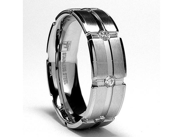 7MM Matte Finish Stainless Steel Ring Wedding band with Cubic Zirconia