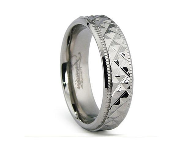 6MM Crystal Cut High Polish Titanium Ring