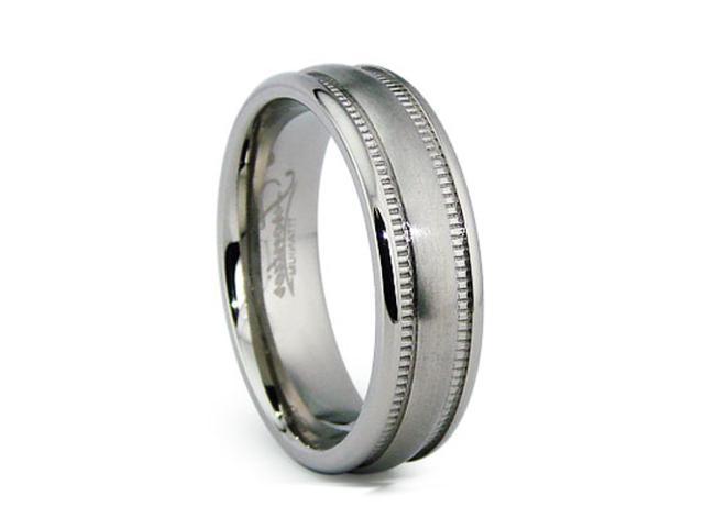 6MM Miligrained High Polish / Matte Finish Titanium Ring