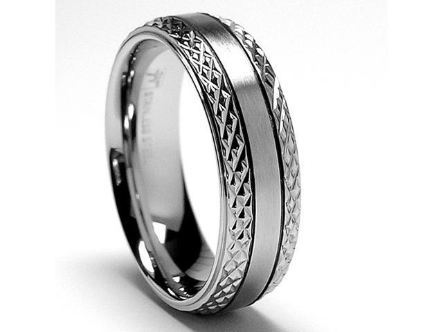 7MM Crystal Cut Stainless Steel Ring