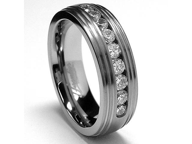 Grooved  Men's Titanium Ring Wedding Band with 9 Cubic Zirconia