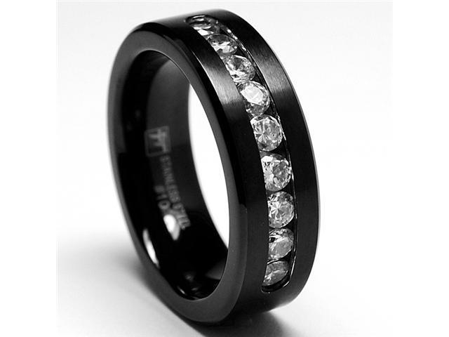 8MM Black Stainless Steel Ring, Band 9 Large Cubiz Zirconia