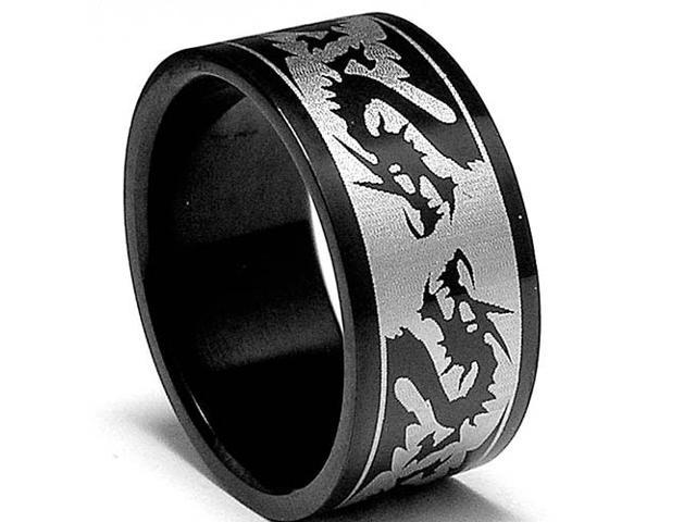 10MM Black Stainless Steel Ring with Dragon Design
