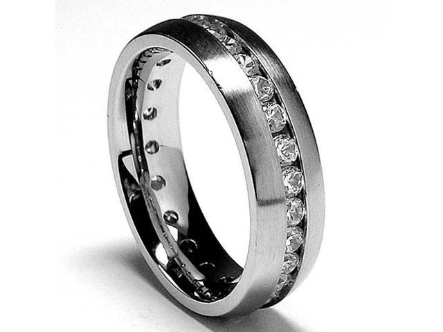 6MM Matte Finish Eternity Stainless Steel Ring Wedding Band with CZ