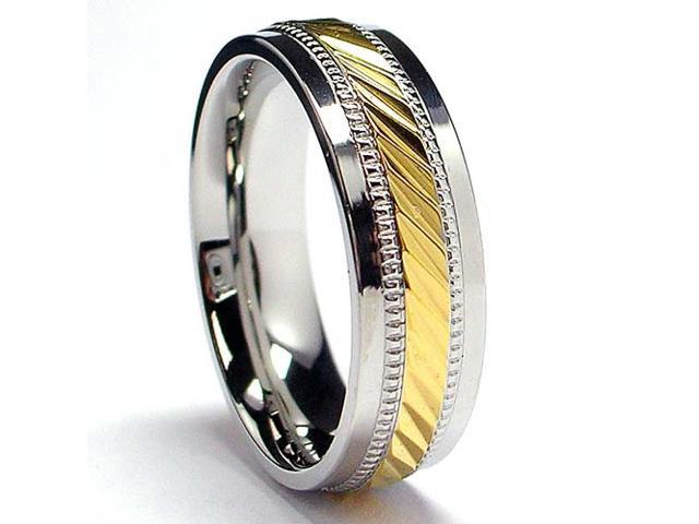 7MM Men's 14K Gold Plated Stainless Steel Ring