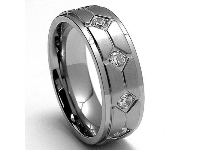 7MM Titanium Ring Wedding Band with Cubic Zirconia