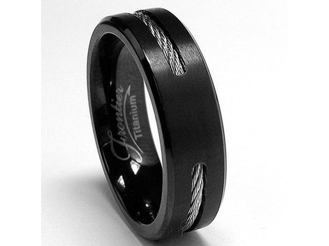 Black Titanium ring Wedding band with Stainless Steel Cables