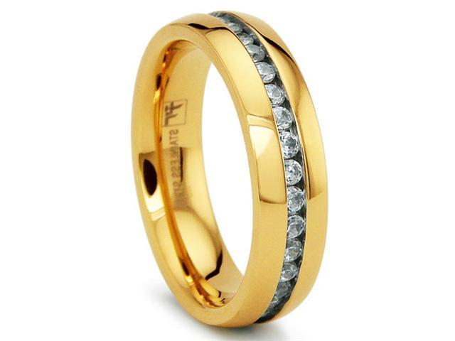 6MM Gold Plated Eternity Stainless Steel Ring Wedding Band with CZ