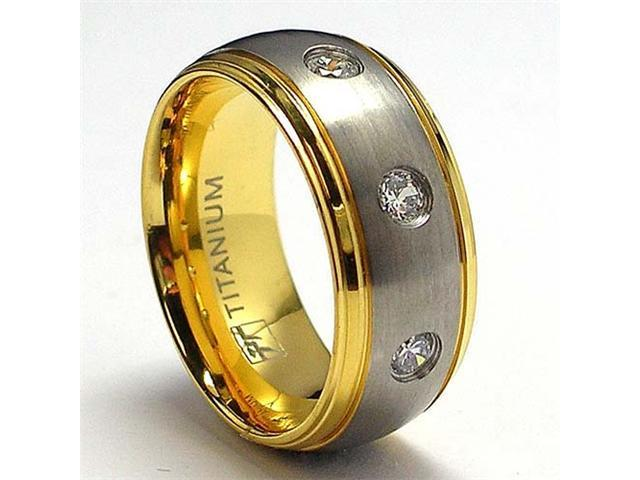 14K Gold Plated Titanium ring Wedding Band with 3 Cubic Zirconia
