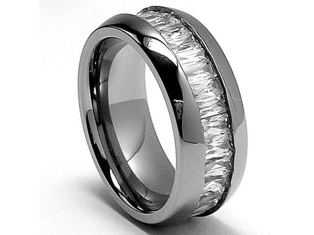 8MM High Polish Ladies Eternity Titanium Ring Wedding Band with CZ