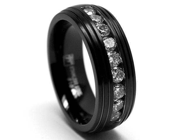 8MM Black Stainless Steel Ring Wedding Band with CZ