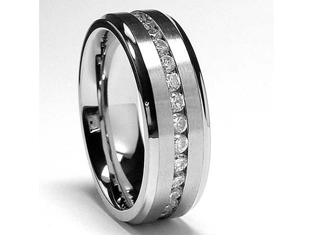 7MM Men's Eternity Titanium Ring Wedding Band with CZ, Comfort Fit