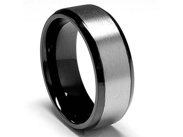 8 MM High Polish / Matte Finish Black Titanium ring Wedding Band