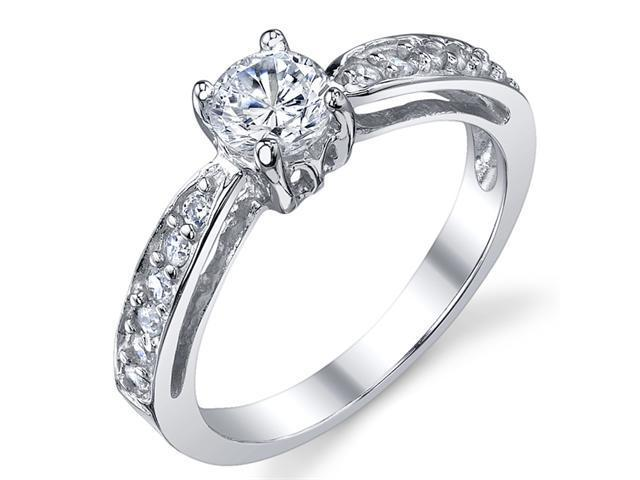 Sterling Silver 925 Wedding Engagement Ring with .50 Carat Round Cubic Zirconia Size 7