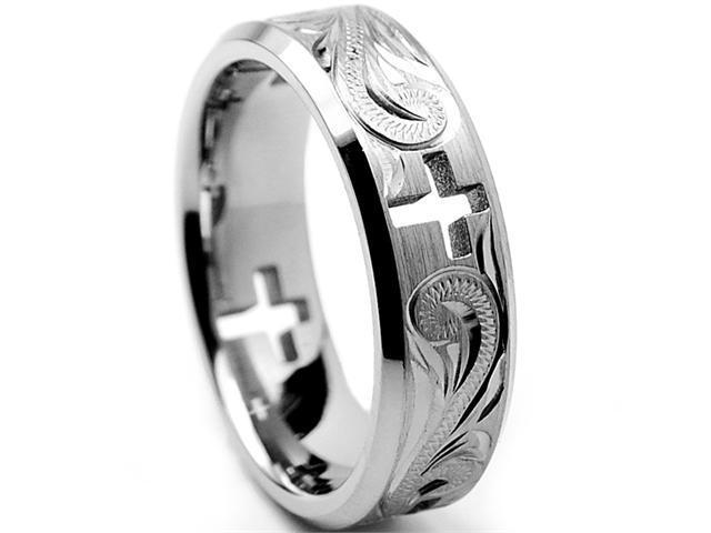 7MM Titanium Ring Wedding Band With Cross Cut Out and Engraved Floral Design Size 9