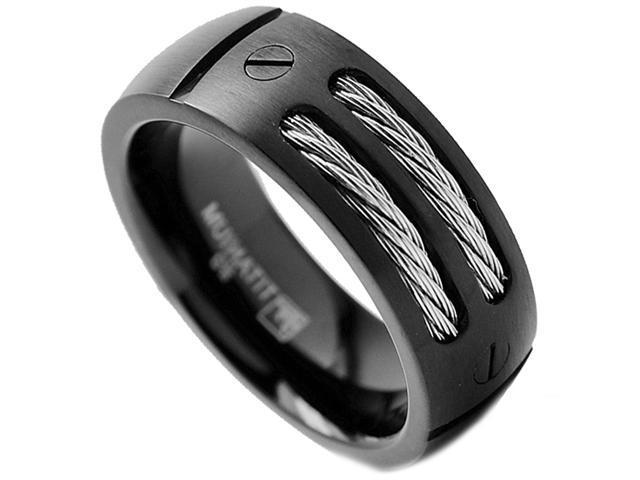 8MM Men's Black Titanium Ring Wedding Band with Stainless Steel Cables and Screw Design Size 10