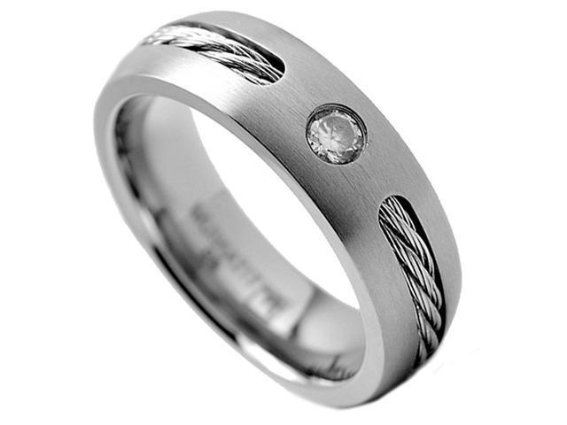 6MM Men's Titanium Ring Wedding Band with Stainless Steel Cables and Cubic Zirconia Size 8
