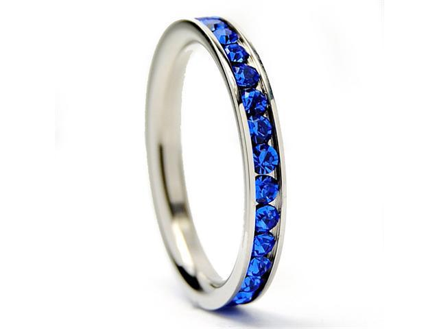 3MM Stainless Steel Eternity Ring with Blue Cubic Zirconia Crystals Size 8