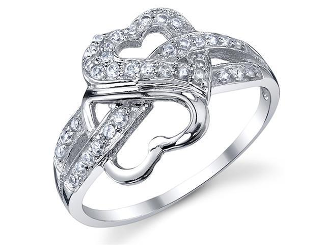 Heart to Heart Sterling Silver 925 Cubic Zirconia Ring Size 6
