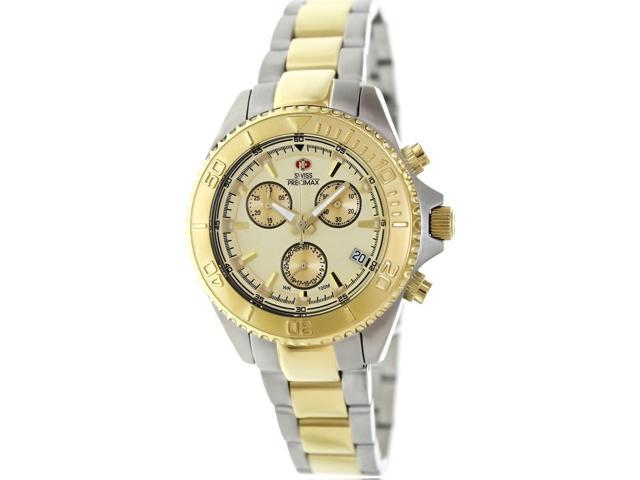 Swiss Precimax Women's Manhattan Elite SP12180 Two-Tone Stainless-Steel Swiss Chronograph Watch with Gold Dial