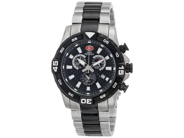 Swiss Precimax SP13113 Falcon Pro Men's Swiss Chronograph Two-Tone Stainless Steel Watch with Black Dial