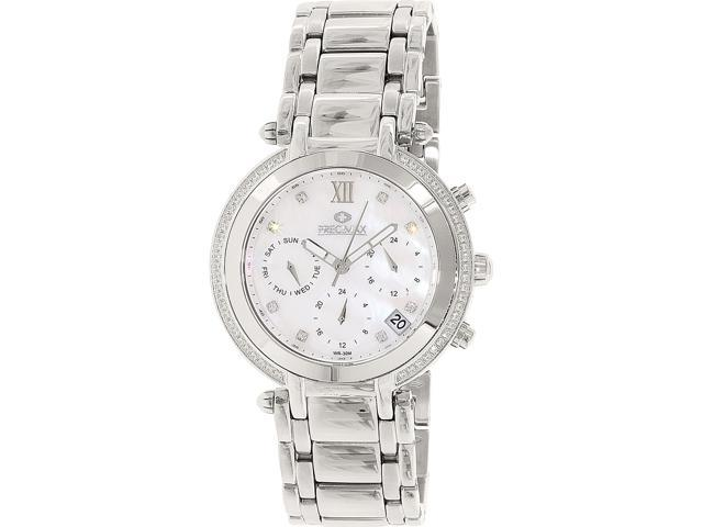Precimax PX13346 Women's Glimmer Elite Silver Stainless-Steel Swiss Chronograph Watch with Mother-Of-Pearl Dial
