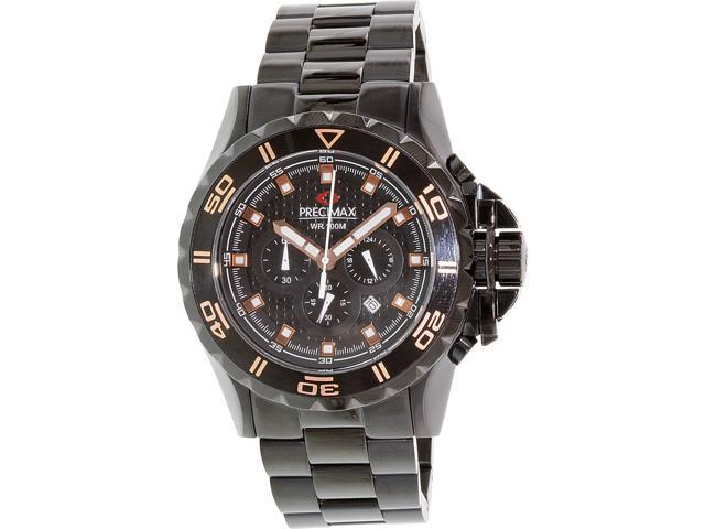 Swiss Precimax PX13233 Men's Carbon Pro Black Stainless-Steel Quartz Watch with Black Dial