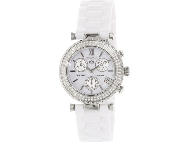 Precimax PX13190 Women's Lily Elite Crystal White Ceramic Quartz Watch with Mother-Of-Pearl Dial