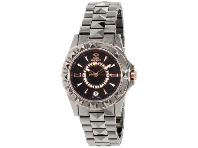 Swiss Precimax SP13172 Women's Fiora Grey Ceramic Swiss Quartz Watch with Grey Dial