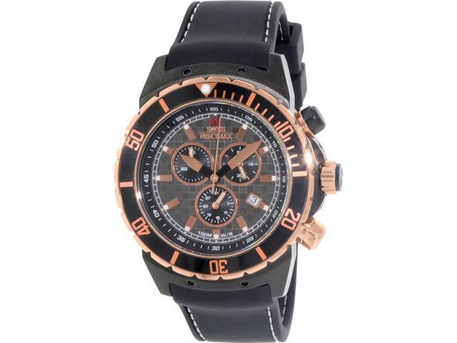 Swiss Precimax SP13281 Men's Pursuit Pro Sport Black Silicone Swiss Chronograph Watch with Grey Dial