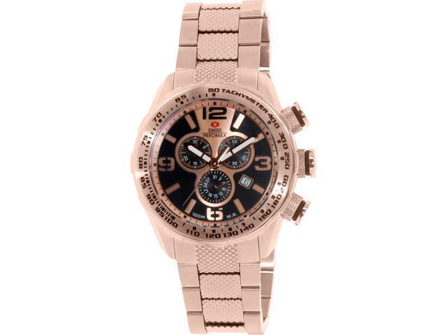 Swiss Precimax Deep Blue Pro III SP13134 Men's Rose Gold Dial Stainless Steel Chronograph Watch
