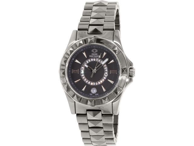 Swiss Precimax SP13171 Women's Fiora Grey Ceramic Swiss Quartz Watch with Grey Dial