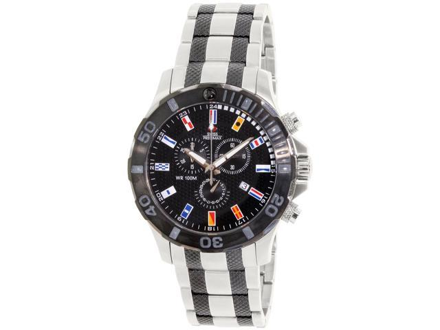 Swiss Precimax SP13054 Men's Armada Pro Two-Tone Stainless-Steel Swiss Chronograph Watch with Black Dial