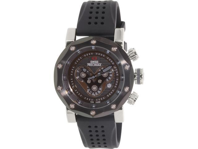 Swiss Precimax SP13089 Men's Vector Pro Sport Black Silicone Swiss Chronograph Watch with Black Dial
