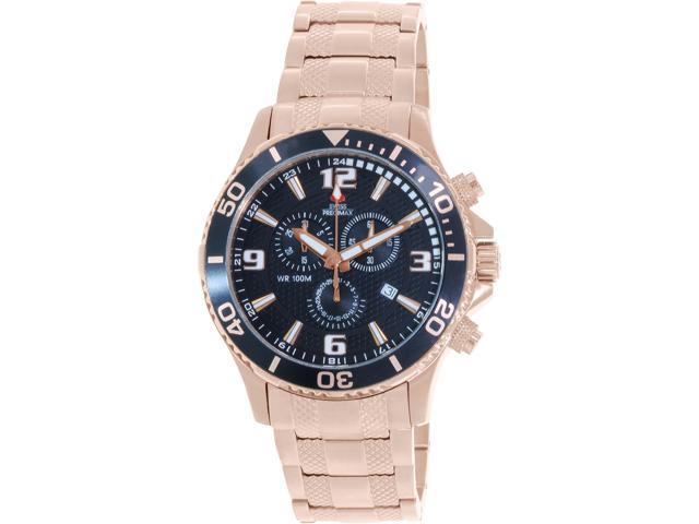 Swiss Precimax SP13066 Tarsis Pro Men's Rose-Gold Stainless-Steel Chronograph Watch with Black Dial