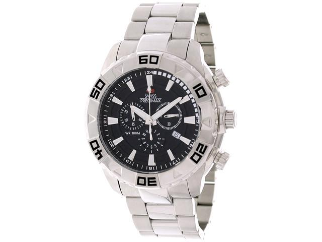 Swiss Precimax SP12051 Men's Valor Elite Silver Stainless-Steel Swiss Chronograph Watch with Black Dial