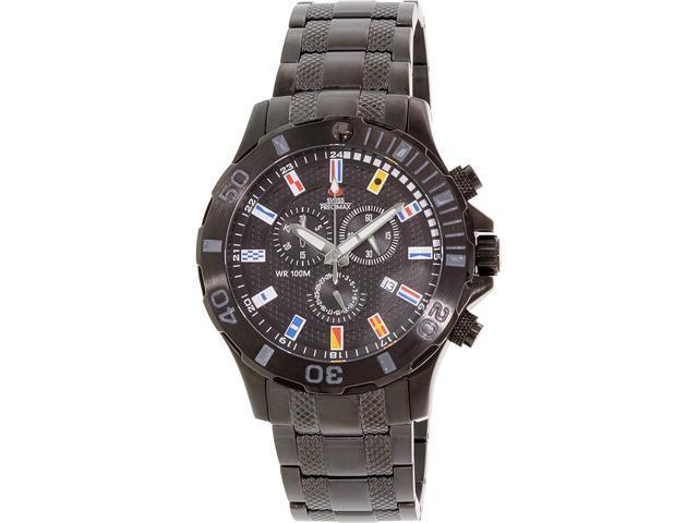 Swiss Precimax Men's Armada Pro SP13050 Black Stainless-Steel Swiss Chronograph Watch with Black Dial
