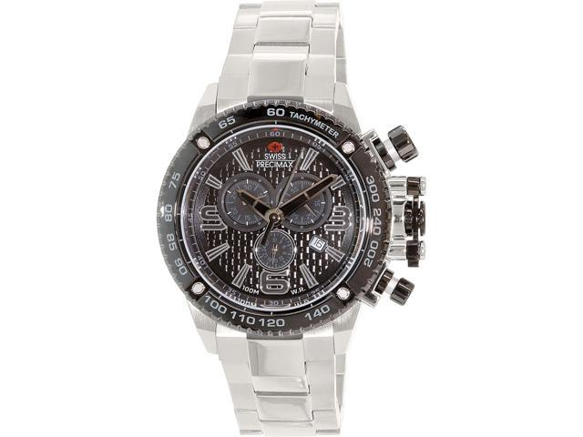 Swiss Precimax SP13246 Forge Pro Men's Black Dial Silver Stainless Steel Chronograph Watch