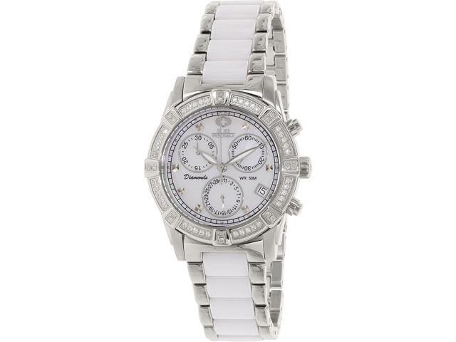 Swiss Precimax SP12075 Women's Desire Elite Ceramic Diamond White Ceramic Swiss Quartz Watch with Mother-Of-Pearl Dial