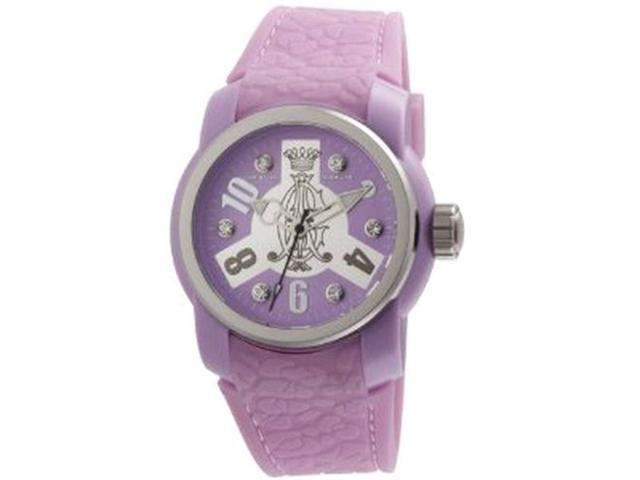 Christian Audigier Women's Intensity INT-321 Purple Rubber Quartz Watch with Silver Dial