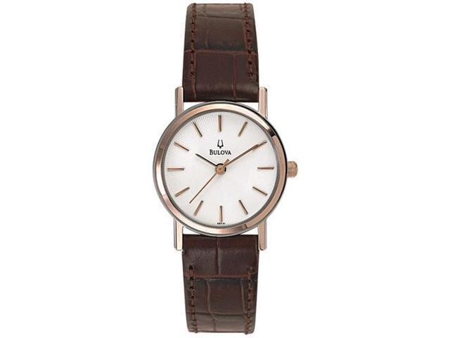 Bulova Women's 98V31 Brown Leather Quartz Watch with White Dial