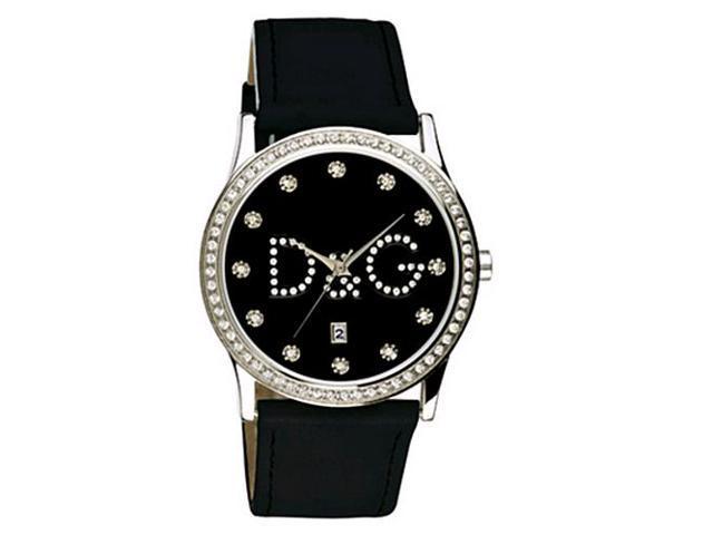 Dolce & Gabbana Women's GLORIA DW0008 Black Leather Quartz Watch with Black Dial