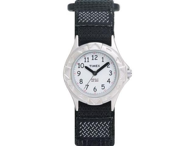 Timex Children's T79051 Black Cloth Quartz Watch with White Dial